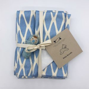 soft lattice blue baby bundle