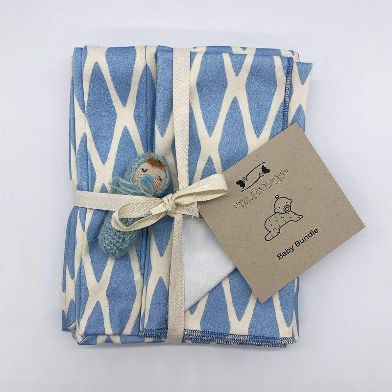 soft lattice blue baby bundle