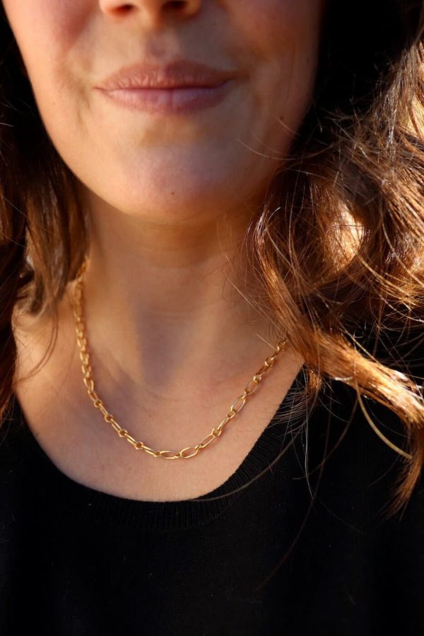 small link gold chain necklace