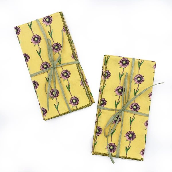 Organic Cotton Yellow Daisy Napkin 2 pack