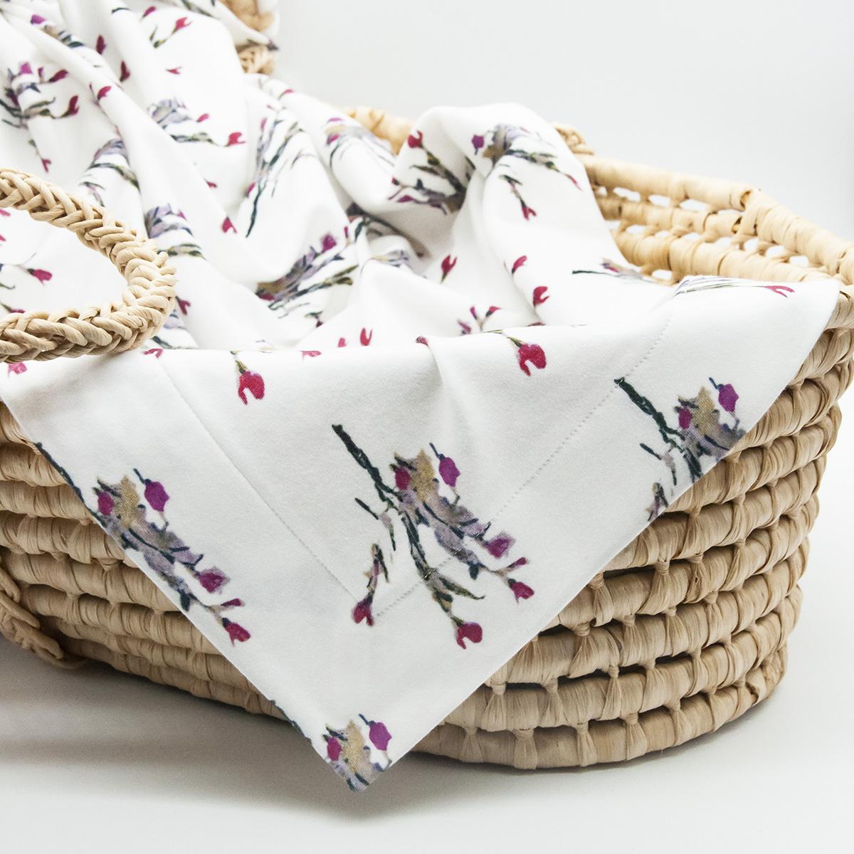 white floral organic baby blanket