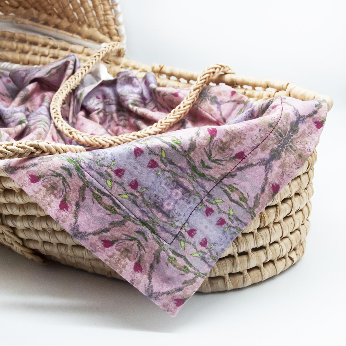 rose organic baby blanket and burp cloths