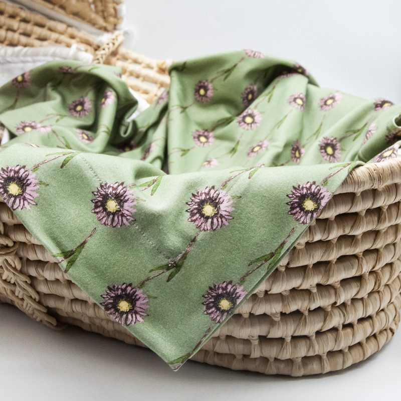 green floral baby blanket