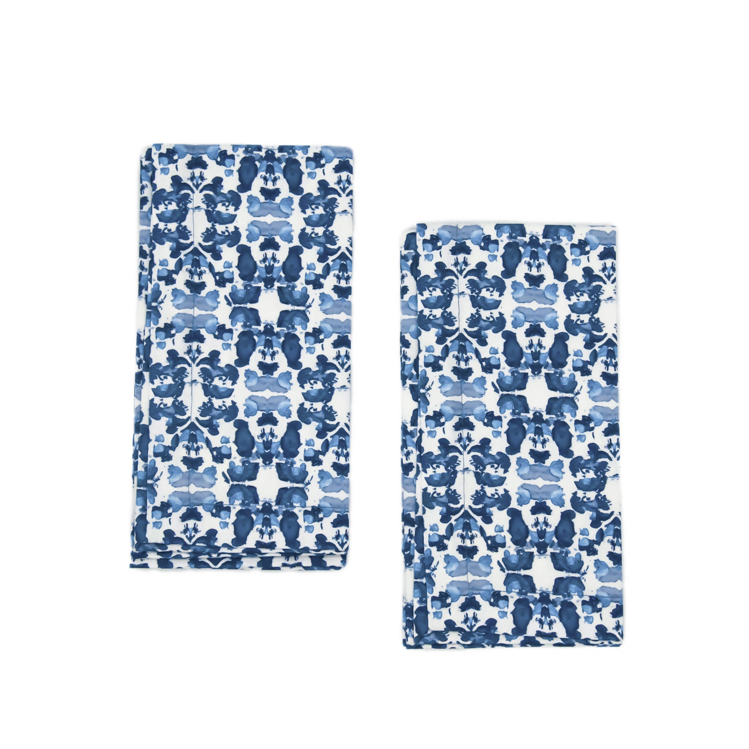 beach rose blue 2 pack organic cotton napkins