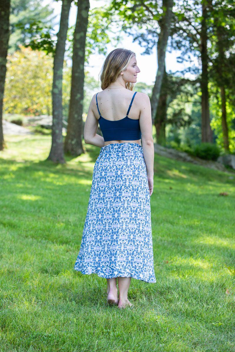blue and white midi skirt