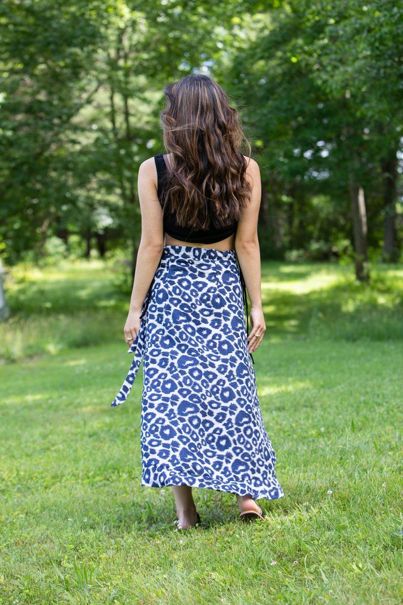 mid length cheetah print skirt