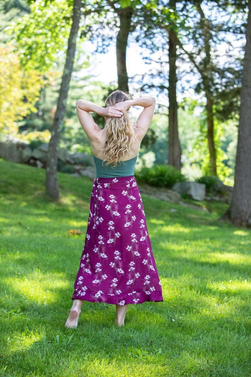 purple floral wrap skirt
