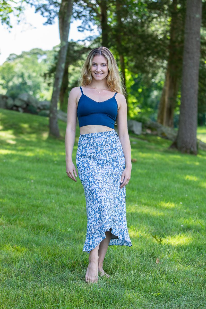 blue and white wrap skirt