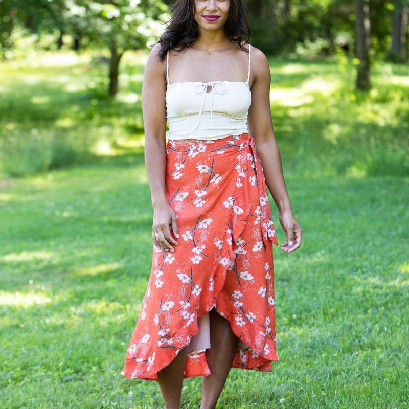 sustainable orange skirt