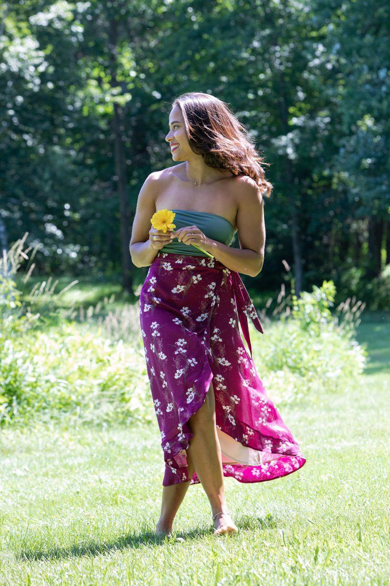 purple midi wrap skirt
