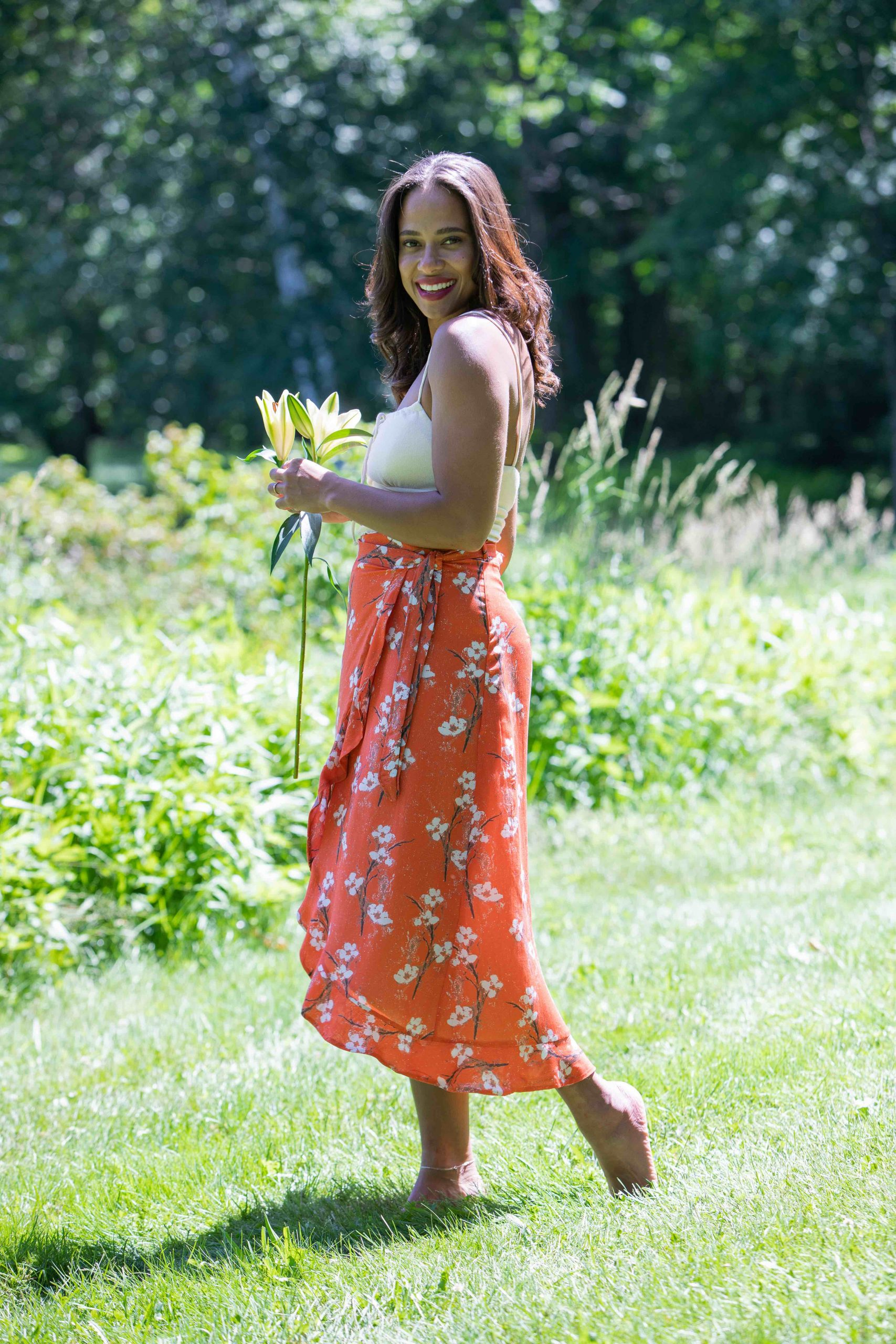 sustainable and ethically made midi skirt
