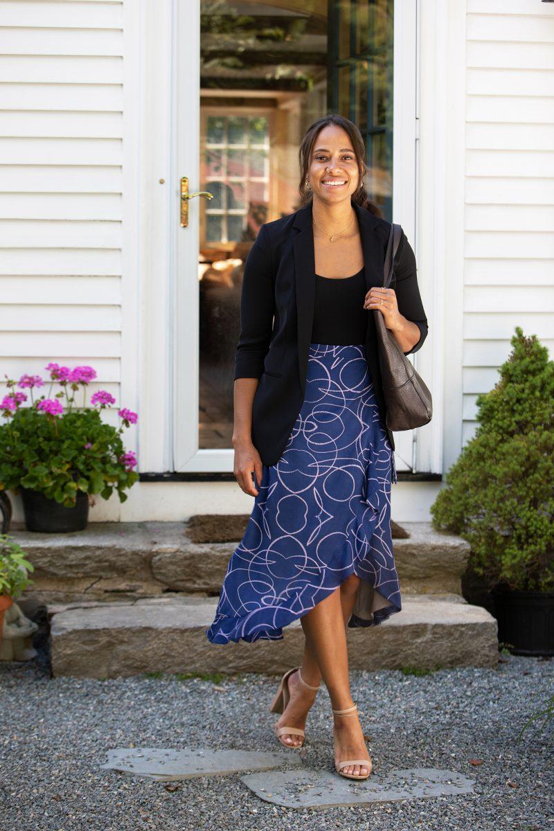 navy skirt for work