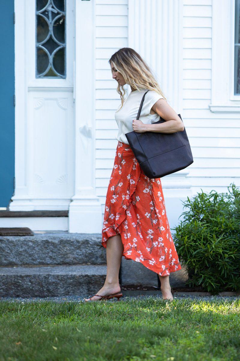 orange work skirt