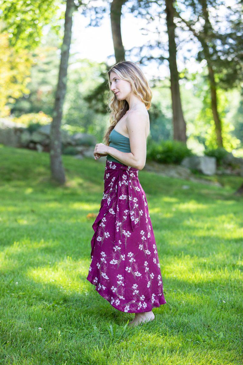 purple floral skirt