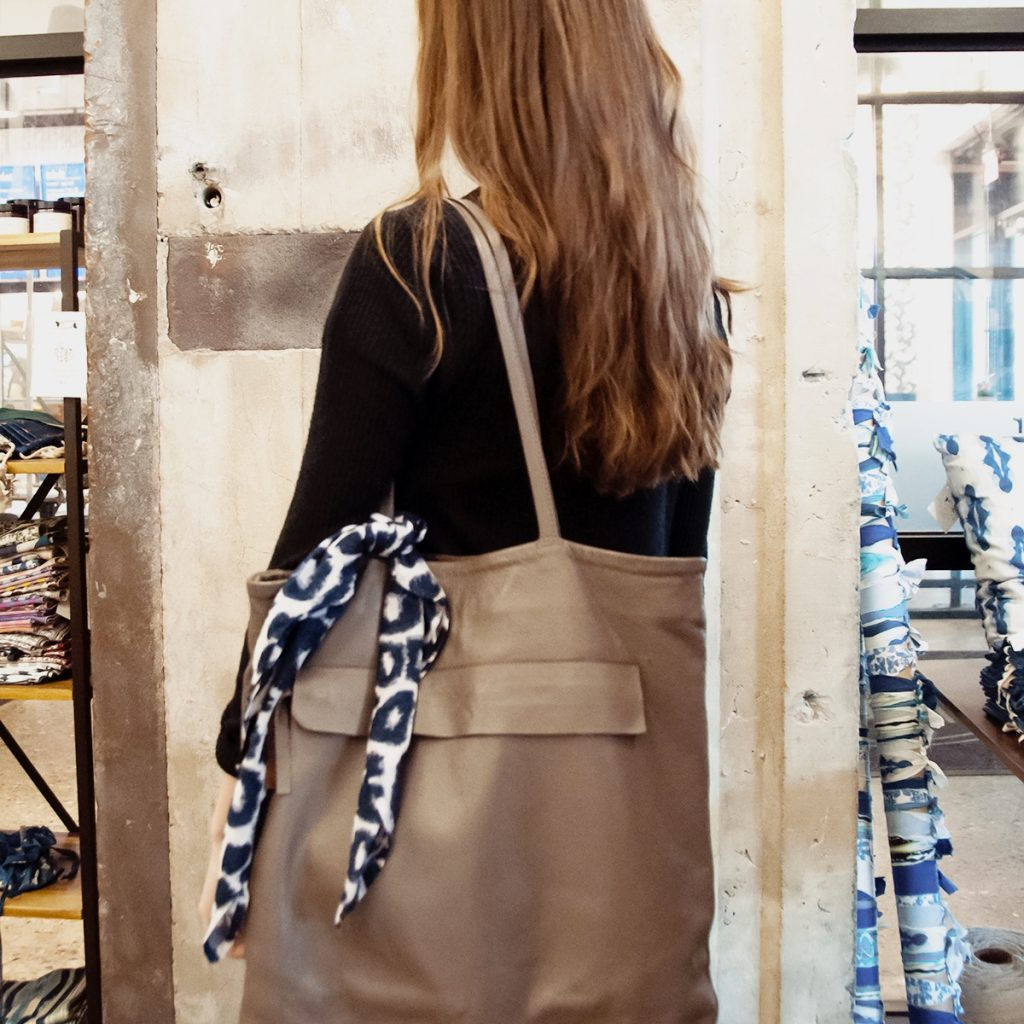 styling a cheetah print square scarf on a purse