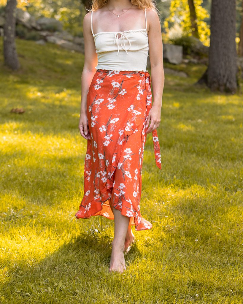sustainable orange skirt for fall and autumn