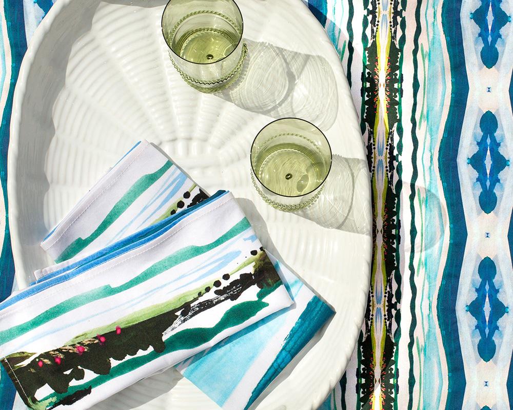 linda cabot design blue pattern sustainable napkin