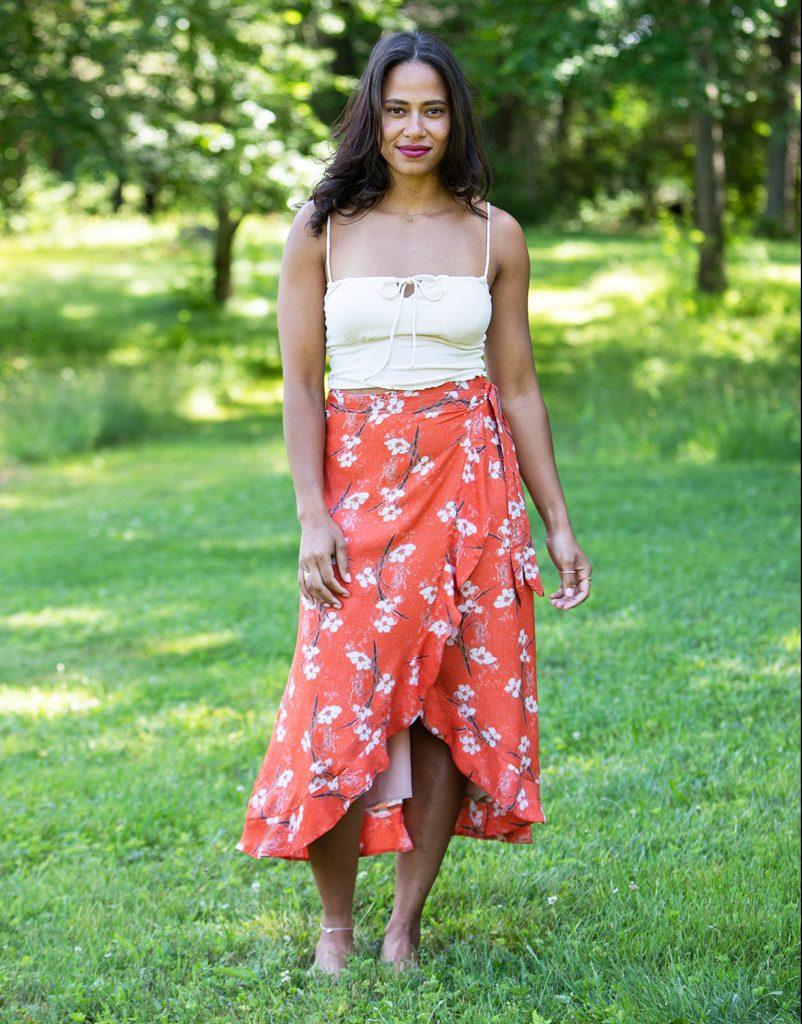 orange floral sustainably made midi skirt wrap skirt