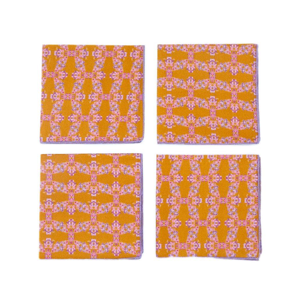 orange organic cotton 4 pack cocktail napkins